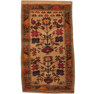 Herat Oriental Afghan Hand-knotted Tribal Balouchi Wool Rug (2'7 x 4'6)