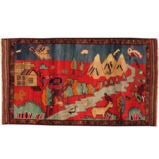 Herat Oriental Afghan Hand-knotted Tribal Balouchi Wool Rug (2'8 x 4'8)