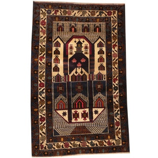 Herat Oriental Afghan Hand-knotted Tribal Balouchi Wool Rug (2'5 x 3'10)