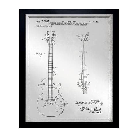Oliver Gal 'Gibson Les Paul Guitar, 1955 - Gray' Mirror Art - gray - 20 x 24