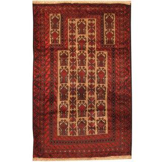 Herat Oriental Afghan Hand-knotted Tribal Balouchi Wool Rug (3'1 x 4'9)