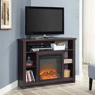 44-inch Wood Corner Highboy Fireplace TV Stand - Espresso