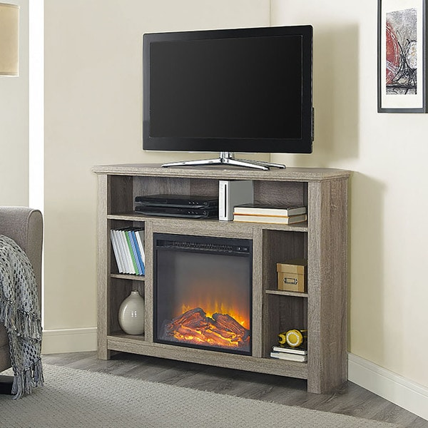 Shop 44 Highboy Corner Fireplace Tv Stand Driftwood 44 X 16 X