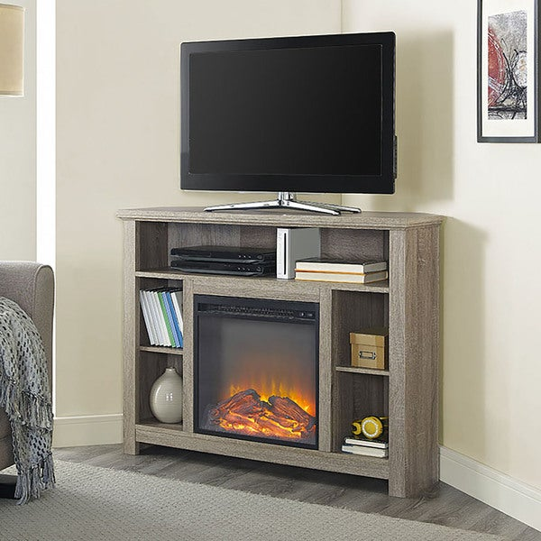 Shop 44-inch Wood Corner Highboy Fireplace TV Stand ...
