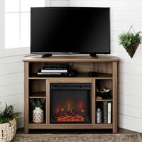 44-inch Wood Corner Highboy Fireplace TV Stand - Driftwood