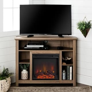 44 inch wood corner highboy fireplace tv stand driftwood - Corner Tv Stands With Fireplace
