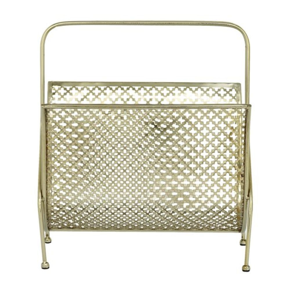 Benzara Metal Magzine Rack (Gold)