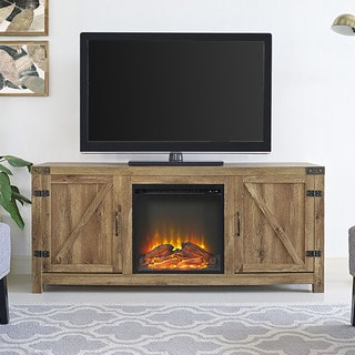 Barnwood Finish 58-inch Barn Door Fireplace TV Stand