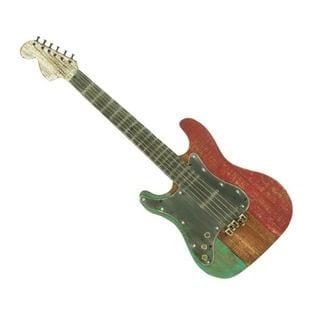 Benzara Metal and Wood 40-inch x 15-inch Guitar Shaped Wall Decor
