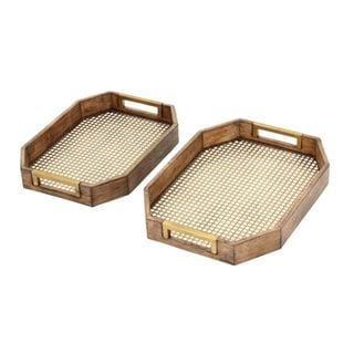 Benzara Gold-tone/Brown Wood/Metal Serving Tray (Set of 2) - Thumbnail 0