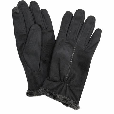 Isotoner Women's Faux Suede Touchscreen Microluxe Lined Gloves
