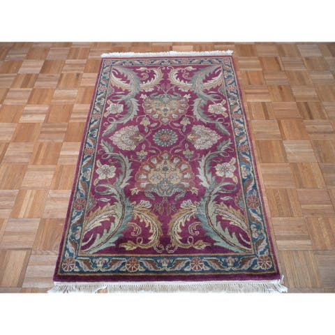 Agra Burgundy Hand-knotted Wool Oriental-style Rug - 3' x 4'11