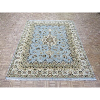 Hand-knotted Light Blue Agra with Wool Oriental Rug (8 x 9'11)