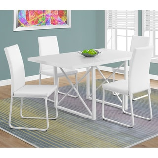 "Glossy White Metal Dining Table (36"" x 60"")"