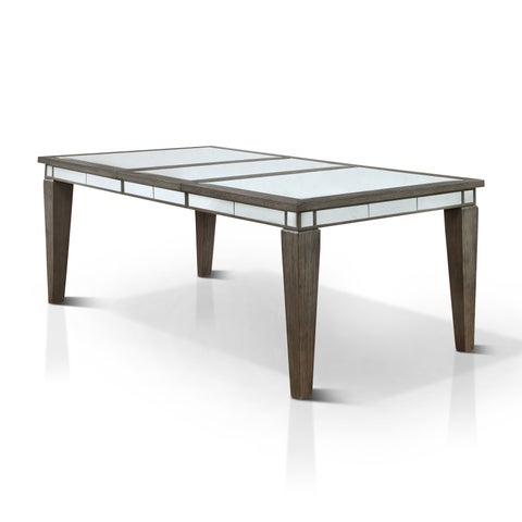 Furniture of America Galleri Contemporary Glam Mirrored Dark Grey Dining Table with 20-inch Leaf