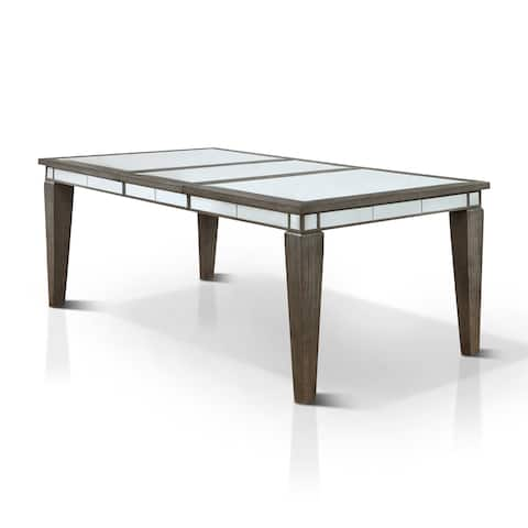 Copper Grove Chernomorets Contemporary Glam Mirrored Dark Grey Dining Table with 20-inch Leaf