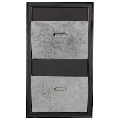 Designovation Walcott Black Wood/Metal Wall Mail Holder With Metal Pockets