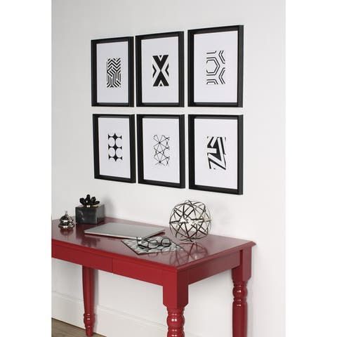 Kate and Laurel Calter 6 Piece Framed Black and White Print Art Set - 16 x 13
