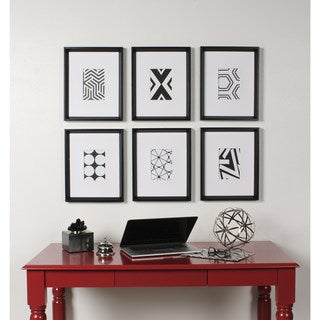 Kate and Laurel Calder 6 Piece Framed Black and White Print Art Set