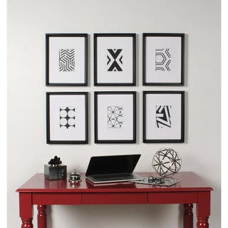 Kate and Laurel Calter 6 Piece Framed Black and White Print Art Set