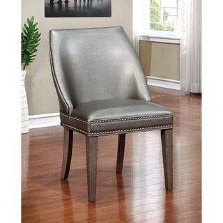 Furniture Of America Galleri Contemporary Grey Leatherette Wingback Accent  Chair (Set Of 2)