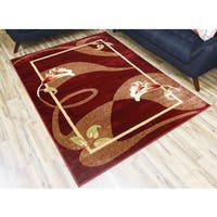 Red Polypropylene Floral Machine-woven Area Rug (8'x10')