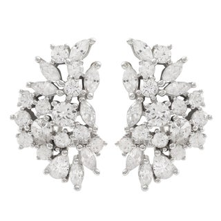 Luxiro Sterling Silver Cubic Zirconia Cluster Earrings