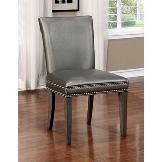 Furniture of America Galleri Contemporary Grey Leatherette Side Chair (Set of 2)
