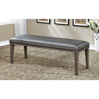 Furniture of America Galleri Contemporary Grey Leatherette Dining Bench