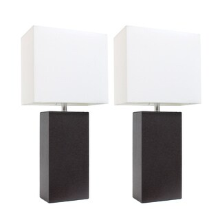 Elegant Designs 2 Pack Modern Brown Leather Table Lamps with White Fabric Shades
