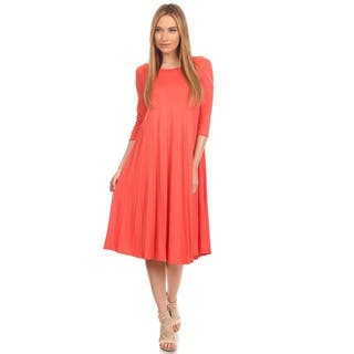 Women's Solid-color Pleated Dress https://ak1.ostkcdn.com/images/products/13840490/P20484269.jpg?impolicy=medium