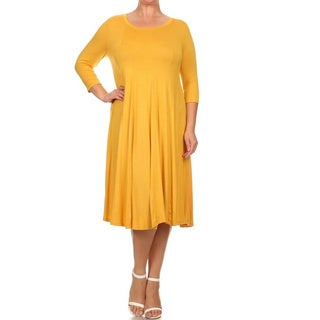 Women's Solid-color Plus-size Dress