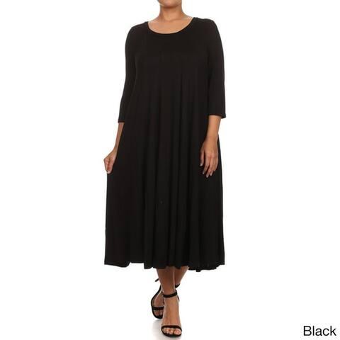 Women's Solid-color Plus-size Dress