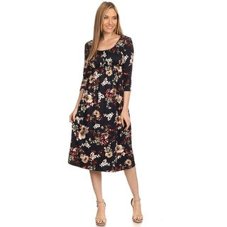 Women's Multicolored Rayon and Spandex Floral-pattern Dress