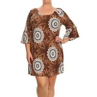 Women's Plus Size Abstract Medallion Boatneck Dress