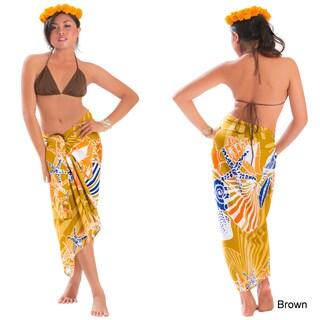 Handmade 1 World Sarongs Womens Multicolor Seashell Fringeless Sarong (Indonesia)