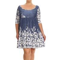 Women's Blue Plus Size Floral Paisley Dress