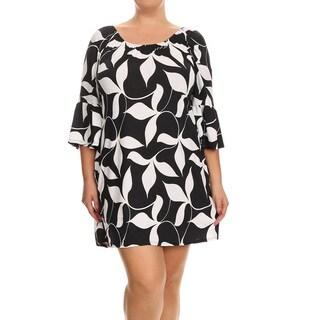 Women's Black White Rayon Blend Plus Size Abstract Dress