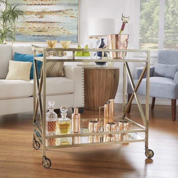 Metropolitan antique brass metal mobile bar cart with for Mobili bar cart