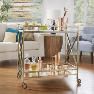Metropolitan Antique Brass Metal Mobile Bar Cart with Mirror Glass Top by INSPIRE Q