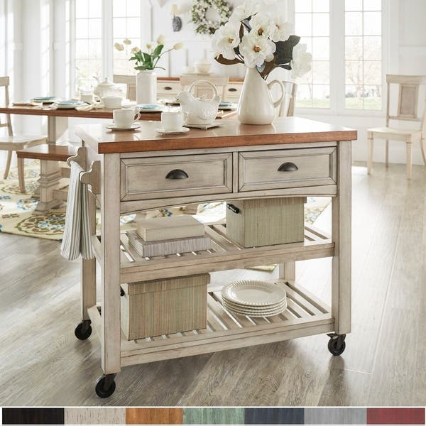 Shop Eleanor Two-Tone Rolling Kitchen Island by iNSPIRE Q ...
