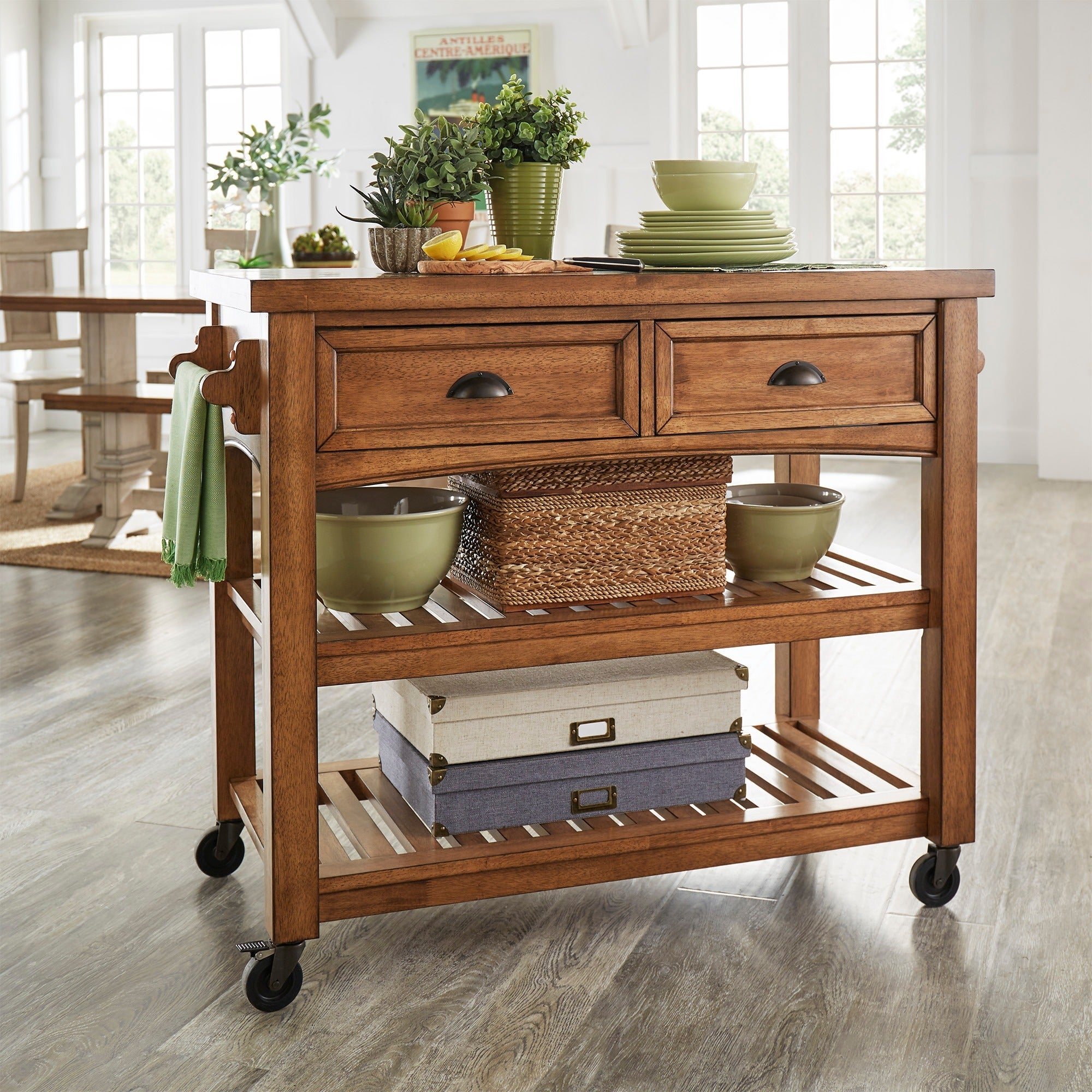 Eleanor Two-Tone Rolling Kitchen Island by iNSPIRE Q Clas...