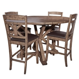 Cohen Weathered Oak 5-Piece Counter Height Dining Set