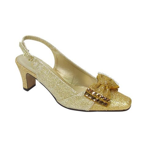 FIC FLORAL Megan Women's Extra Wide Width Dress Slingback with Metallic Bow