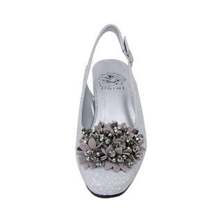 FIC FLORAL Natalie Women's Extra Wide Width Dress Slingback with Flower Bow