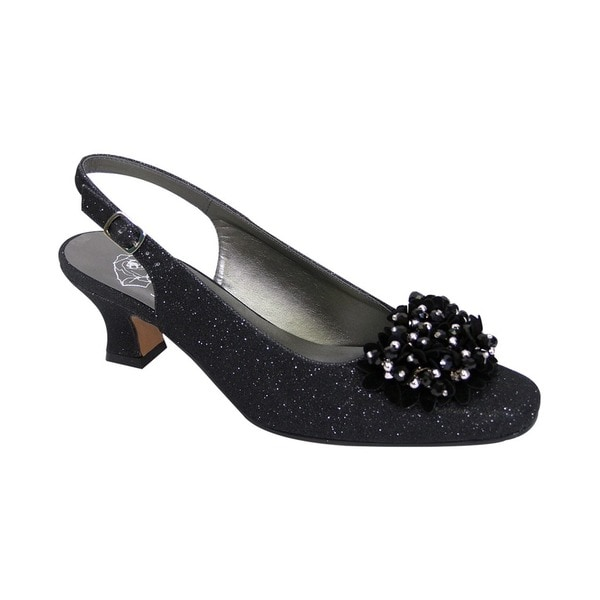 FIC FLORAL Natalie Women's Extra Wide Width Dress Slingback with Flower Bow. Opens flyout.