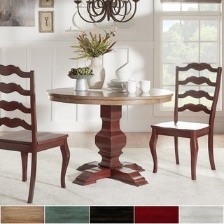 Eleanor Oak and Berry Red Round Solid Wood Top 3-piece Ladder Back Dining Set by TRIBECCA HOME