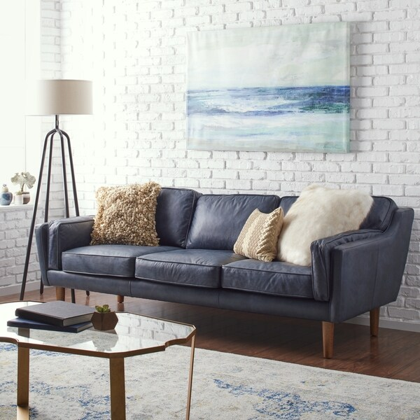 Shop Strick & Bolton Beatnik Oxford Leather Blue Sofa - Free ...