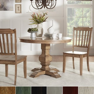 Eleanor Oak Round Solid Wood Top 3-piece Slat Back Dining Set by iNSPIRE Q Classic