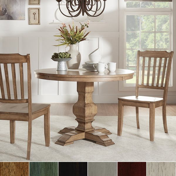 Round Kitchen Table And Chairs Walmart Kitchen Table Sc 1: Shop Eleanor Oak Round Solid Wood Top 3-piece Slat Back